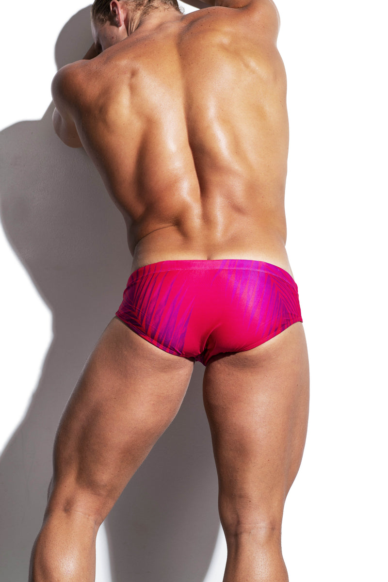 Raspberry Palms Luxe Streamline Swim Brief - Turlock & Co.
