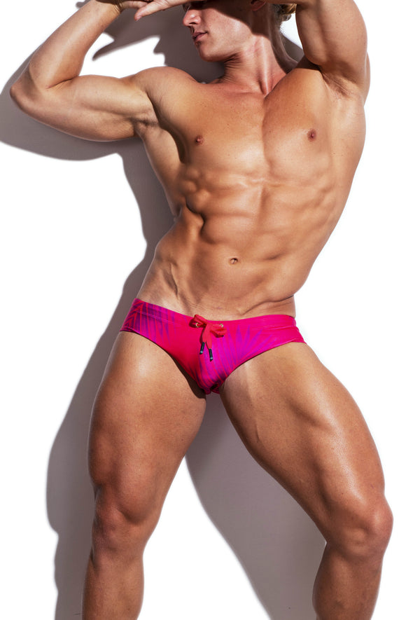Raspberry Palms Luxe Streamline Swim Brief