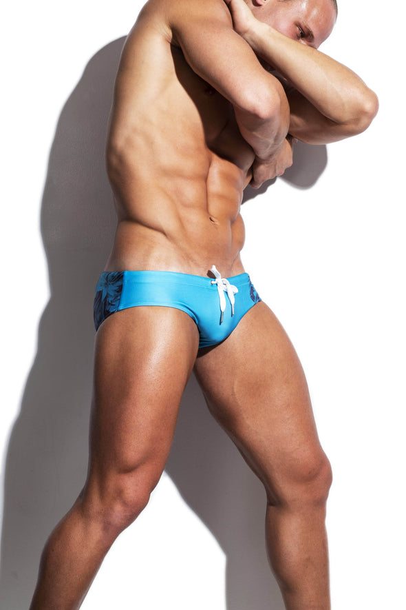 Green and Charcoal Dragon Fly Streamline Swim Brief - Turlock & Co.