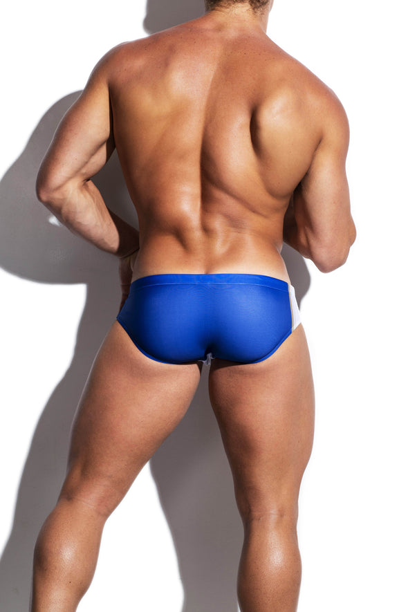 White and Navy Collegiate  Streamline Swim Brief