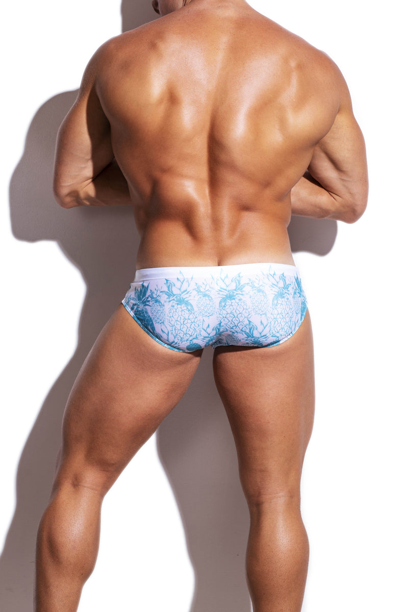 Green Pineapples Streamline Swim Brief - Turlock & Co.