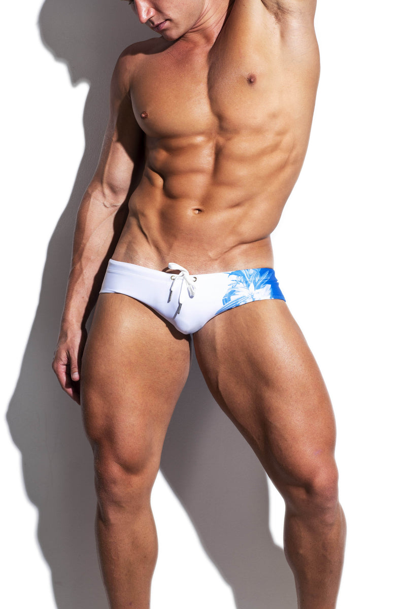White and Blue Dragon Fly Streamline Swim Brief - Turlock & Co.