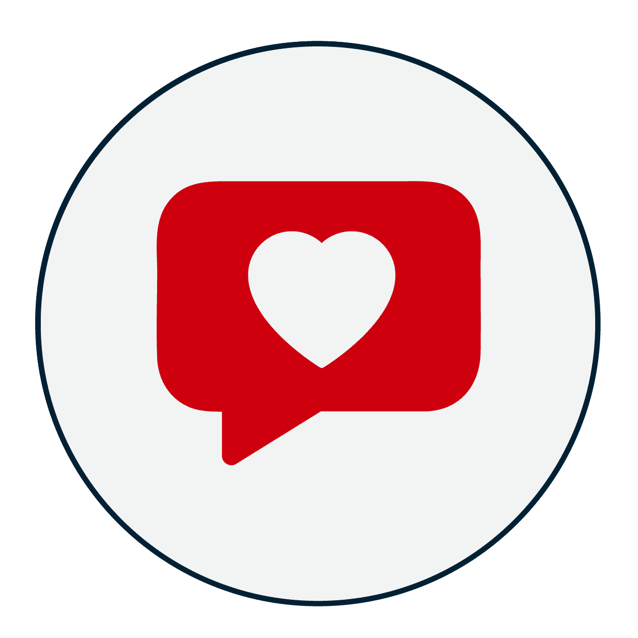 icon of a speech bubble with a heart inside.