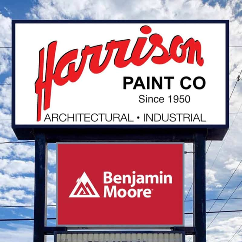 Harrison Paint Co exterior signage in Louisiana.