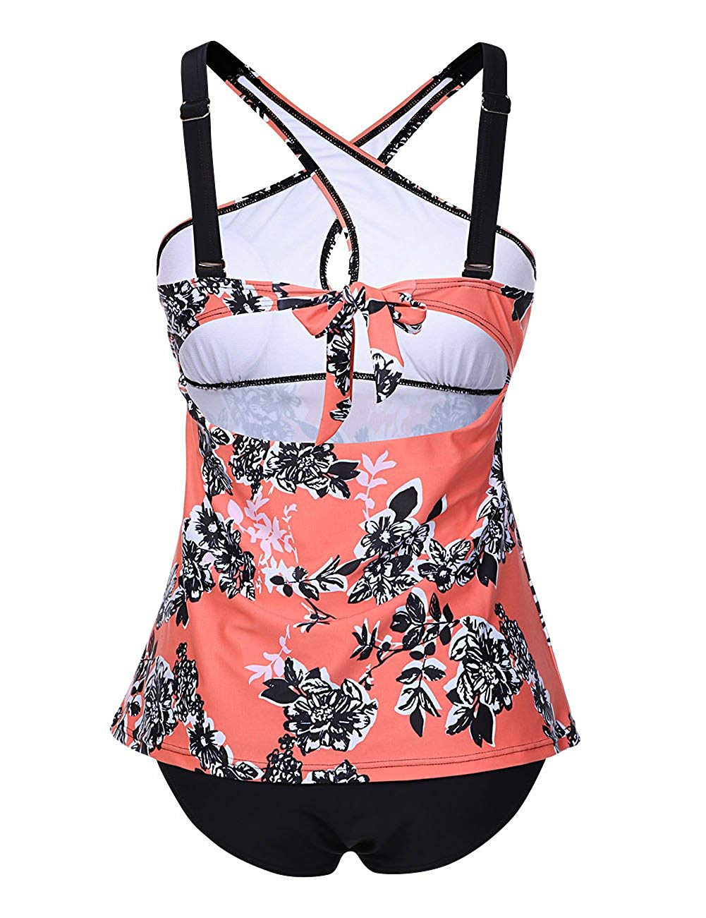 VENDHAUTE Women's Two Pieces Swimsuits Criss Cross Front Padded Tankini Set