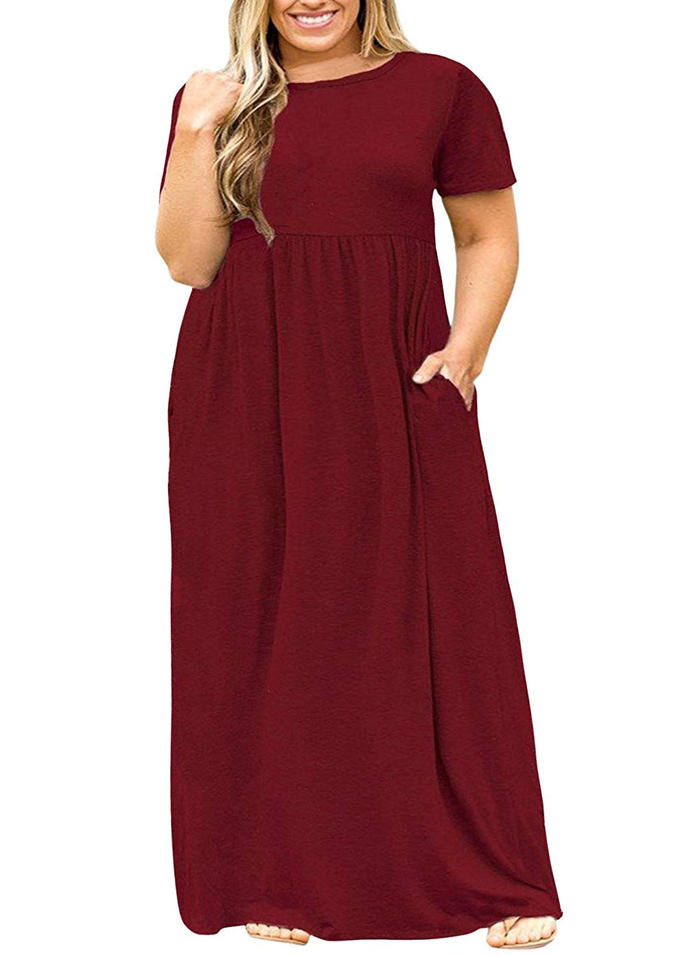Plus Size Long Maxi Dress with Pockets