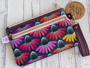 Twin Zip clutches, all handmade