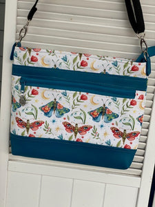 Handmade Cross Body bag teal moths