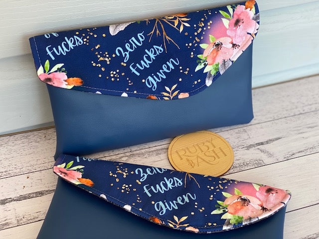 Curved flap clutch navy swears