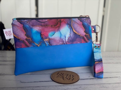 Handmade statement clutch ink synthetic leather and blue leather
