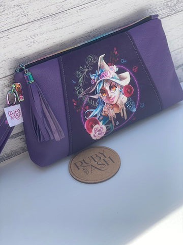 Purple Leather witchy clutch