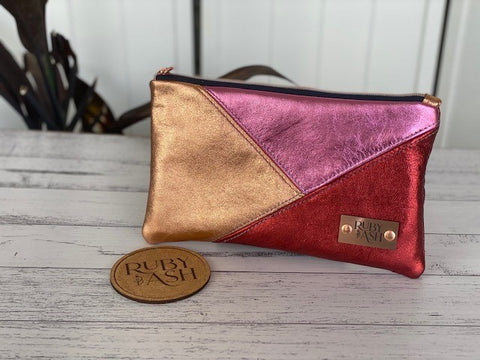 Handmade statement clutch metallic leather