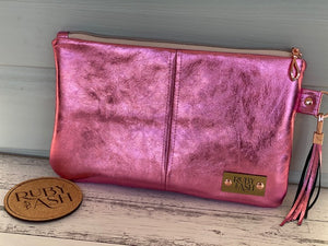 Hot pink all leather clutch