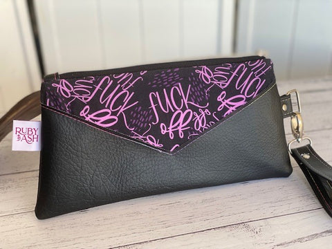 Handmade clutch swears print  purple