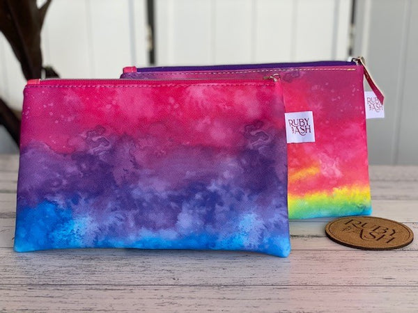 Rainbow synthetic leather pouch