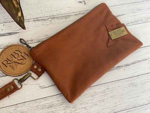 Handmade Leather clutch bag tan one of a kind