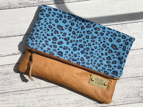 Handmade Foldover Large clutch Denim Leopard