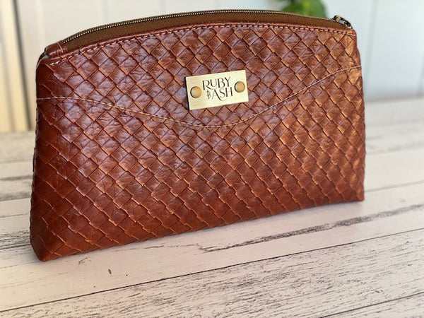 Handmade clutch faux woven brown