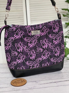 Large size Hobo bag handmade purple swears