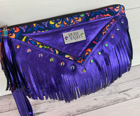 One of a kind statement clutch purple leather