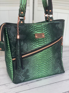 Croc textured vinyl tote bag one of a kind