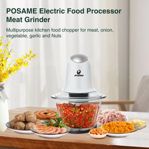 【Updated】Posame Kitchen Mini Food Chopper 250W Meat Grinder Food Processor Glass