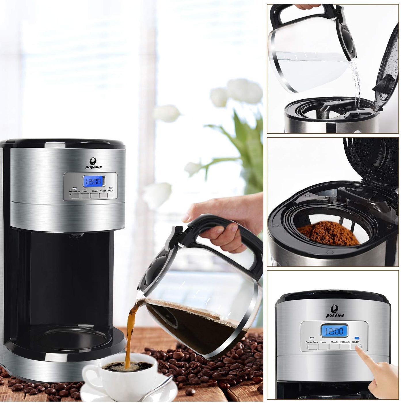 Posame Coffee Maker 12 Cup Programmable Filter Coffee Machine With