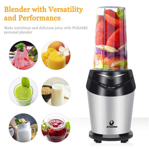 POSAME Personal High-Speed Blender Bullet Blender 800W for Smothie Ice and Baby food