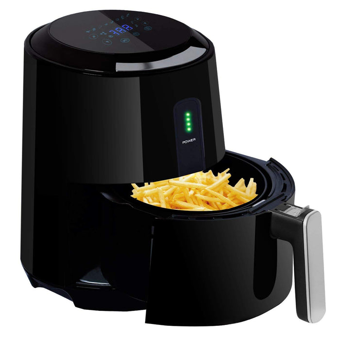 Posame Air Fryer 1400-Watt 3 Quarts with 8 Cook Presets LCD Touch Screen Hot Air Fryers Black