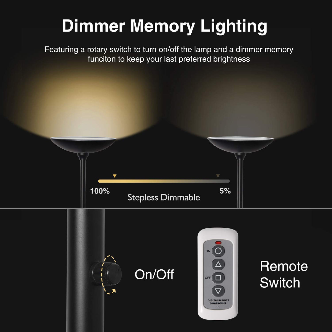 SUNLLIPE LED Torchiere Floor Lamp with Remote Control 24W ...