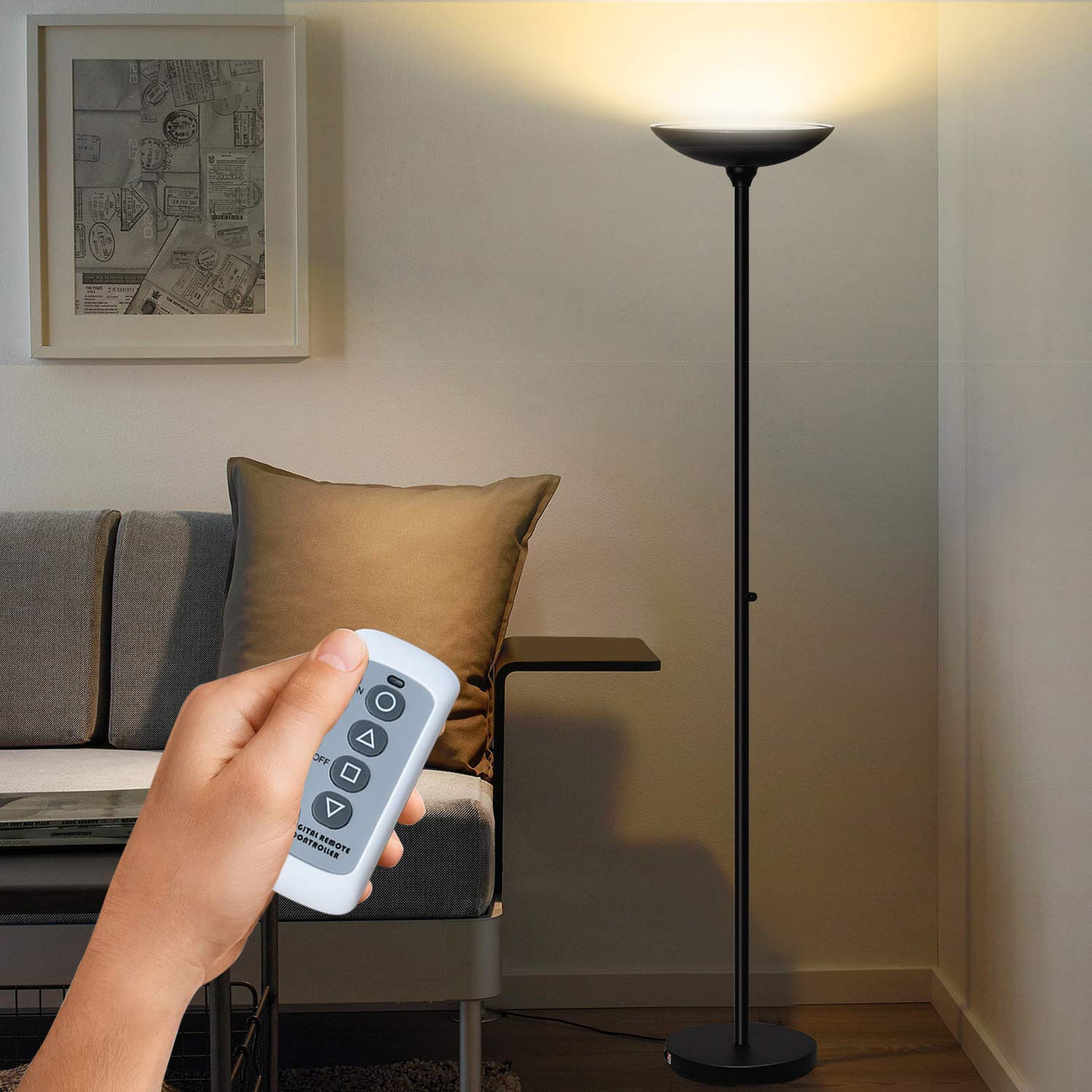 Sunllipe Led Torchiere Floor Lamp With Remote Control 24w