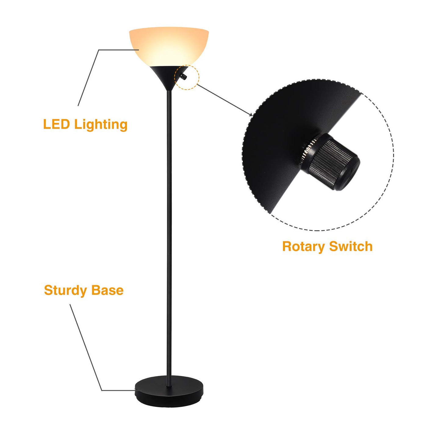 Sunllipe Led Torchiere Floor Lamp 70 Energy Saving Sturdy