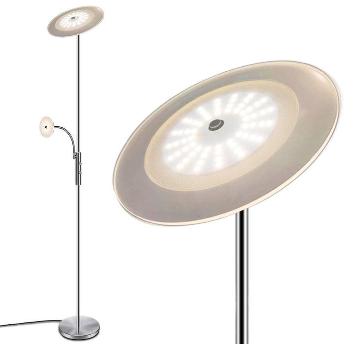 SUNLLIPE Modern LED Torchiere Floor Lamps 18W+5W Dimmable Standing Lamp 71 Inchs 3000K