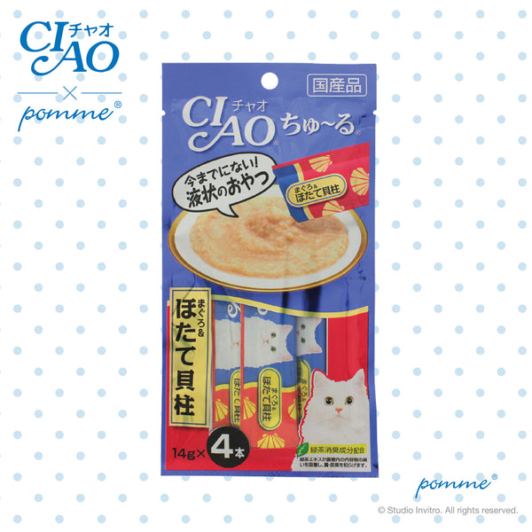 Ciao Treat in Soup for Cat - Tuna & Scallop Flavor  14g x 4