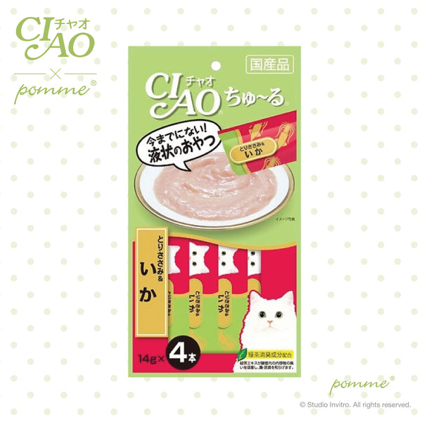 Ciao Treat in Soup for Cat - Chicken & Squid Flavor  14g x 4