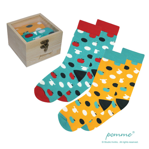 Pomme Pattern Sock with Wooden Box
