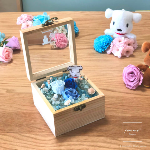 Japan Preserved Bouquet Box -  Sea of Cerulean Blossom