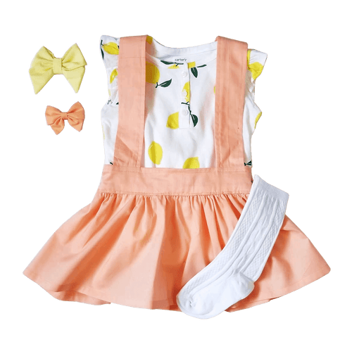 Birdie suspender skirt in summer peach