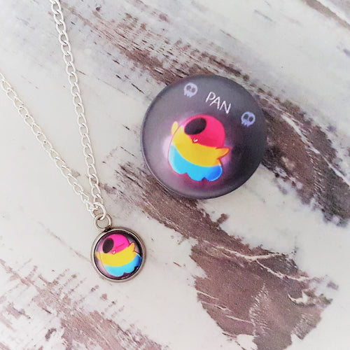 Cute Spooks, Pansexual Ghost Necklace