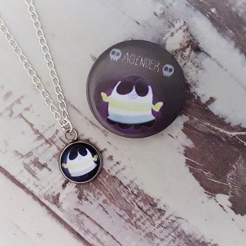 Cute Spooks, AGender Ghost Necklace