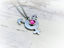 Load image into Gallery viewer, Transgender Pride, Birthstone Necklace