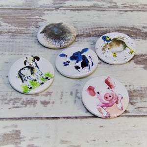 Farm Animals, Set of 5 Pin Badges