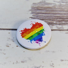 Load image into Gallery viewer, LGBT Paint Splash Heart Pin Badge
