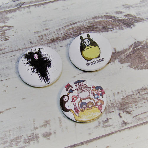 My Neighbour Totoro, No Face Set of 3 Pin Badges