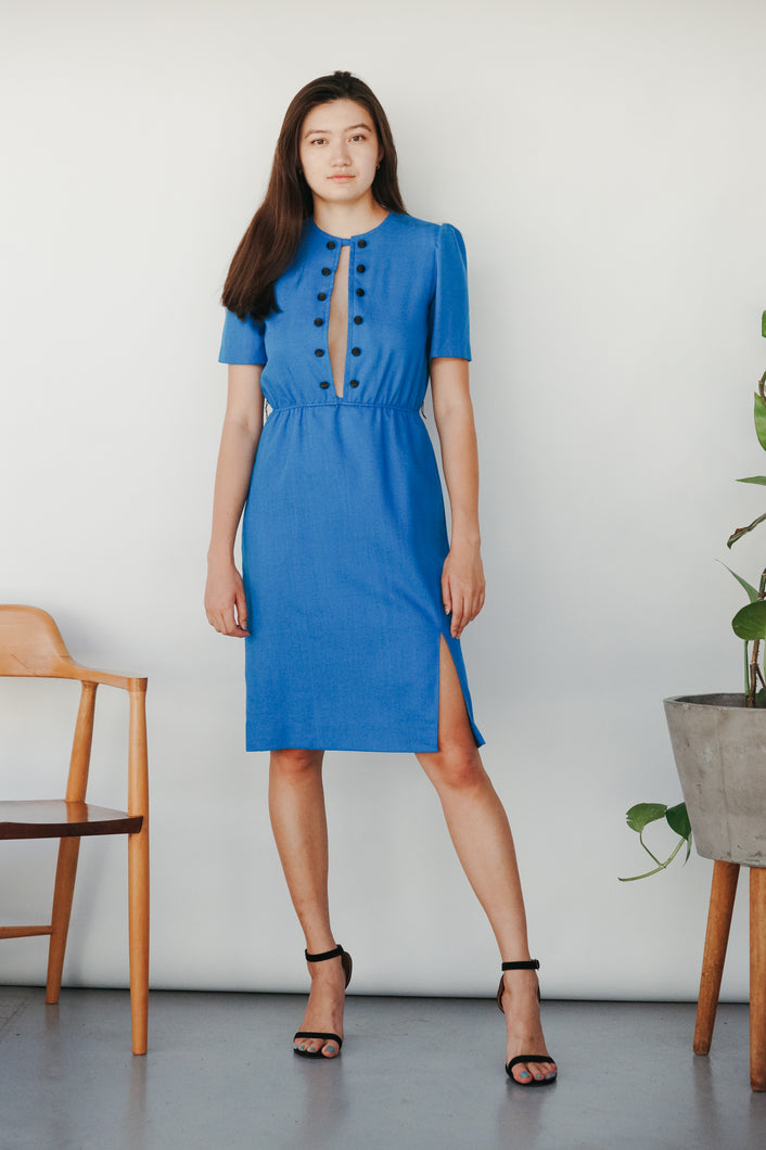 "Transformed Vintage 1960's dress - modified + upcycled fashion - ""Give The Devil Her Blue"