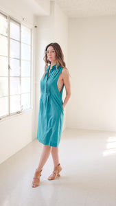 "Transformed Vintage Dress - Modified and Upcycled - Zero Waste Fashion - ""Teals on Wheels"""