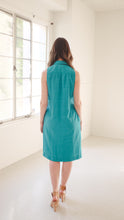 "Load image into Gallery viewer, Transformed Vintage Dress - Modified and Upcycled - Zero Waste Fashion - ""Teals on Wheels"""