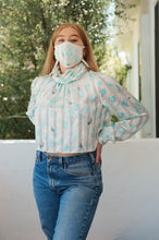 "Load image into Gallery viewer, Mask + Top Upcycled Vintage Blouse - Transformed Zero Waste Fashion - ""Masking For A Friend"""