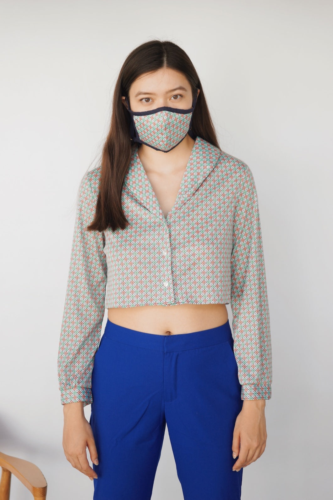 Top + Mask Ensemble - Transformed Top, Cropped and Upcycled - Zero Waste Fashion -