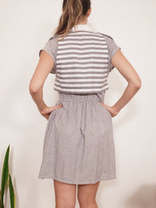 "Transformed Vintage Dress - Cropped and Upcycled - Zero Waste Fashion - ""Stripe Artist"""